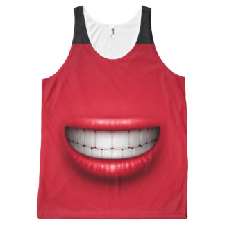 Funny Smile and Tongue Out All-Over Printed Tank All-Over Print Tank Top