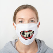 Funny Lips Smile Teeth Laughing Scream Photo White Cotton Face Mask Zazzle Com