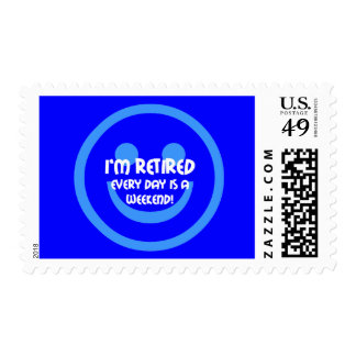 Funny smile retirement postage stamp