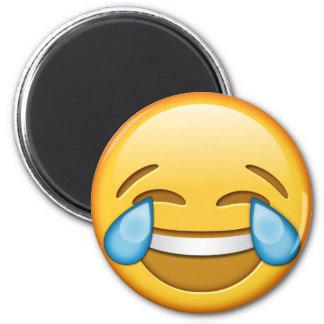 Funny smiley emoji round magnet