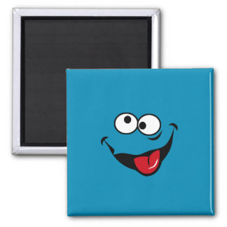 Funny smiley face cartoon blue background 2 inch square magnet