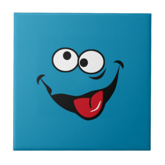 Funny smiley face cartoon blue background ceramic tile