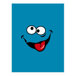 Funny smiley face cartoon blue background postcard