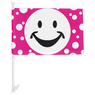 Funny Smiley face & Dots + your backg. & ideas Car Flag
