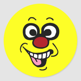 Funny Smiley Face Grumpey Classic Round Sticker