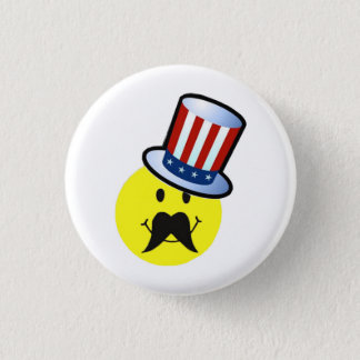 Funny Smiley Face Pin / Funny Mustache Pin