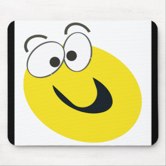 Funny Smiley Face Yellow with Black Border Mouse Pads