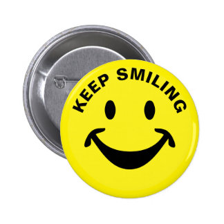 Funny Smiley face + your backg. & ideas Button