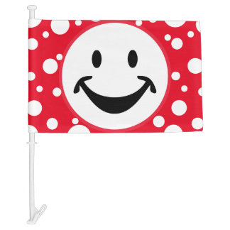 Funny Smiley face + your backg. & ideas Car Flag