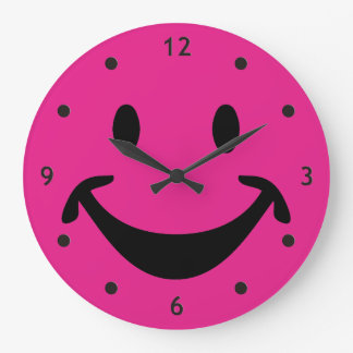 Funny Smiley face + your backg. & ideas Large Clock
