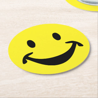 Funny Smiley face + your backg. & ideas Round Paper Coaster