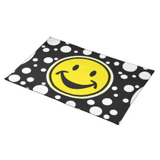 Funny Smiley yellow & Dots + your backg. & ideas Cloth Placemat