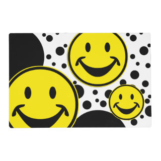 Funny Smiley yellow & Dots + your backg. & ideas Placemat