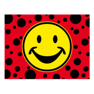 Funny Smiley yellow & Dots + your backg. & ideas Postcard