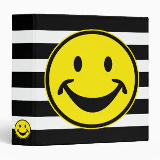 Funny Smiley yellow & stripes + your backg. & idea 3 Ring Binder