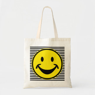 Funny Smiley yellow & stripes + your backg. & idea Budget Tote Bag