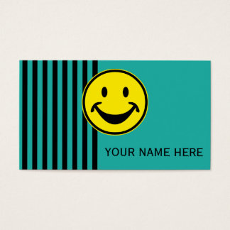 Funny Smiley yellow & stripes + your backg. & idea Business Card