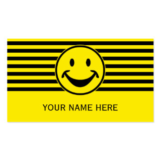 Funny Smiley yellow & stripes + your backg. & idea Double-Sided Standard Business Cards (Pack Of 100)