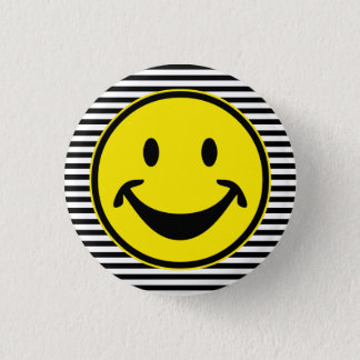 Funny Smiley yellow & stripes + your backg. & idea Pinback Button
