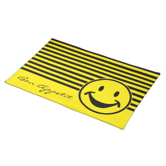 Funny Smiley yellow & stripes + your backg. & idea Placemat