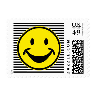 Funny Smiley yellow & stripes + your backg. & idea Postage