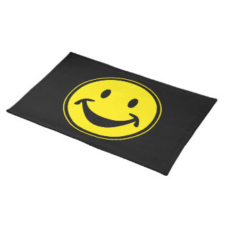 Funny Smiley yellow + your backg. & ideas Cloth Placemat