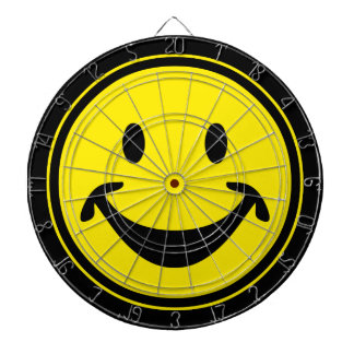 Funny Smiley yellow + your backg. & ideas Dartboard