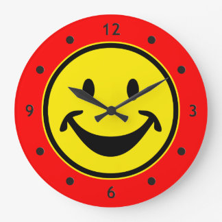 Funny Smiley yellow + your backg. & ideas Large Clock
