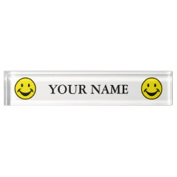 Funny Smiley yellow + your backg. & ideas Name Plate