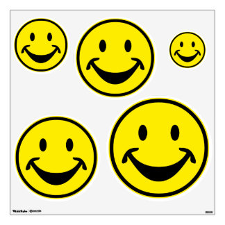 Funny Smiley yellow + your backg. & ideas Wall Sticker