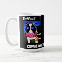 Funny Smiling Cartoon Coffee Loving Cow Coffee Mug