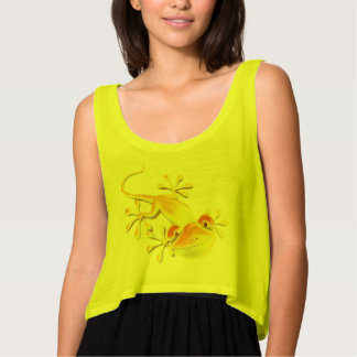 Funny Smiling Gecko + your background & ideas Flowy Crop Tank Top