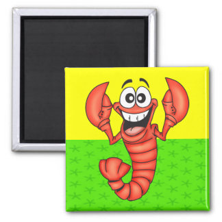 Funny Smiling Lobster 2 Inch Square Magnet