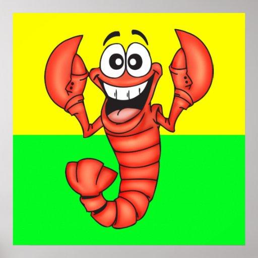 Funny Smiling Lobster Poster