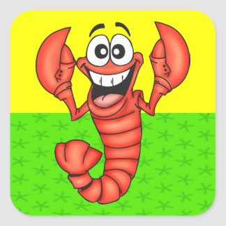 Funny Smiling Lobster Square Stickers