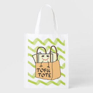 Funny Smiling Tote of TOFU Green Chevron Pattern Reusable Grocery Bag