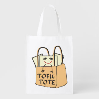 Funny Smiling Tote of TOFU Grocery Bags