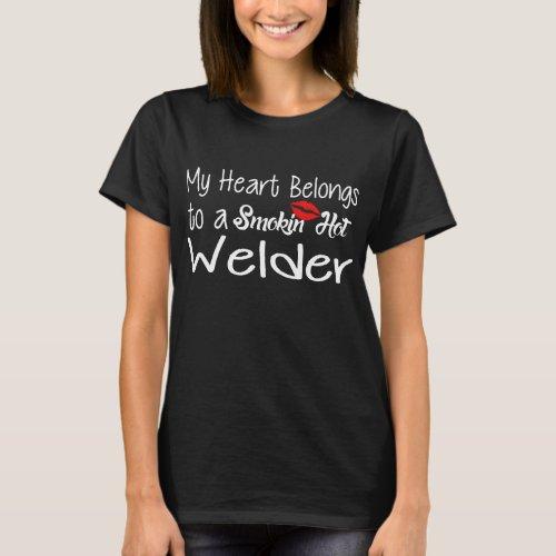 Funny Smokinhot Welder Proud Wife Girlfriend Unio T_Shirt
