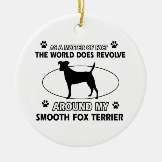 Funny smooth fox terrier designs ceramic ornament