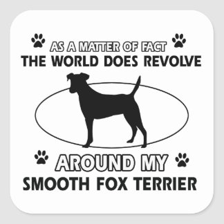 Funny smooth fox terrier designs square sticker