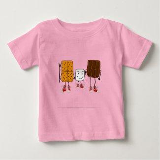 Funny SMores Characters Cartoon Baby T-Shirt