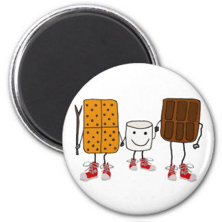 Funny Smores Characters Cartoon Magnet