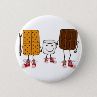 Funny Smores Characters Cartoon Pinback Button