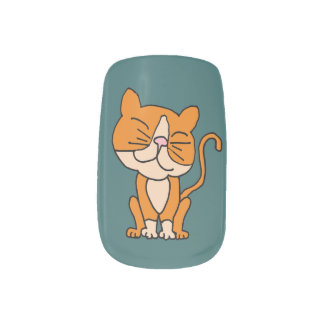 Funny Smug Orange Cat Minx ® Nail Art