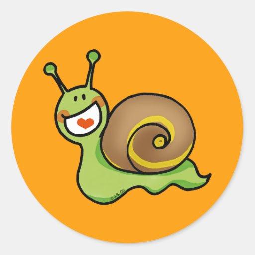 Funny snail classic round sticker
