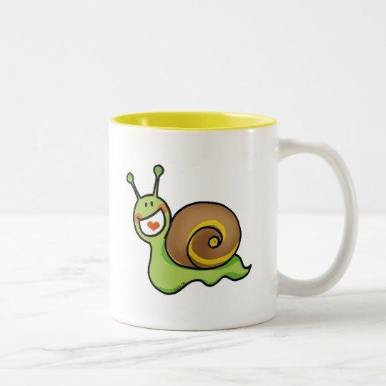Funny snail Two-Tone coffee mug