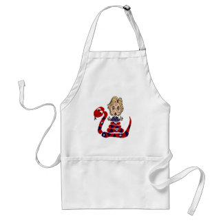 Funny Snake Squeezing Hillary Cartoon Adult Apron
