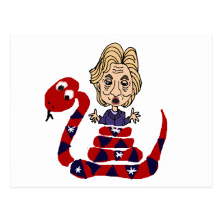 Funny Snake Squeezing Hillary Cartoon Postcard