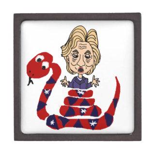 Funny Snake Squeezing Hillary Cartoon Premium Trinket Box