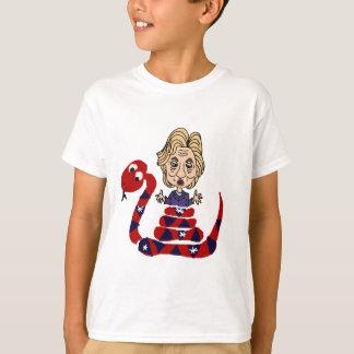 Funny Snake Squeezing Hillary Cartoon T-Shirt